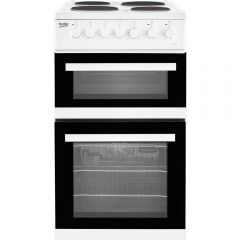 Beko EDP503W 50cm Electric Double Oven Cooker + Solid Plate Hob