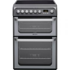 Hotpoint HUE61G 60cm Electric Double Oven Cooker + Ceramic Hob