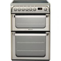 Hotpoint HUE61X 60cm Electric Double Oven Cooker + Ceramic Hob