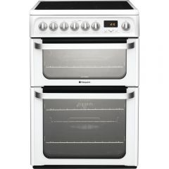 Hotpoint HUE62PS 60cm Electric Double Oven Cooker + Ceramic Hob