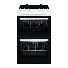Zanussi ZCV46050WA 55cm Electric Double Oven Cooker + Ceramic Hob